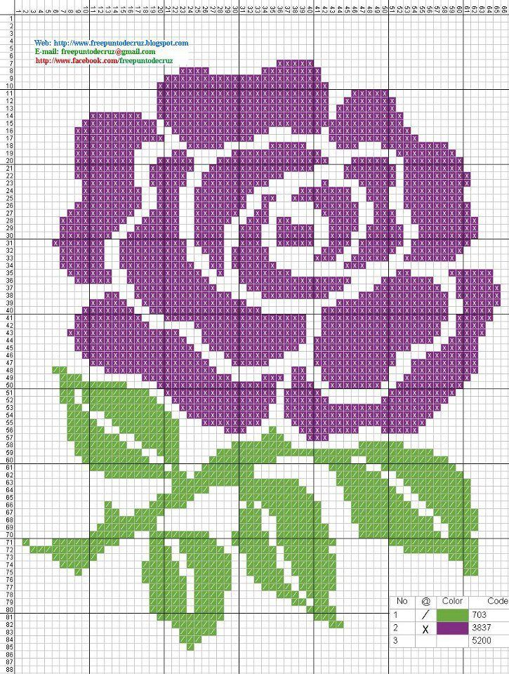 Rose Free Cross Stitch Pattern Chart