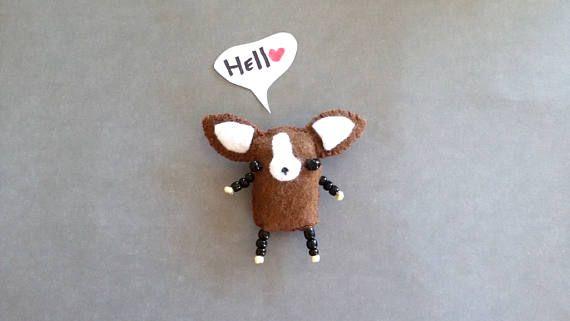 Miniature Felt Chihuahua Dog Plush Tiny Toy  Handmade Funny