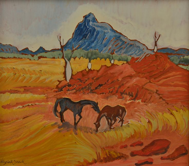 """""""Two Horses in Landscape"""", by Elizabeth Durack (1915-2000), Oil on Board, 29 x 32cm. Sold for $1,300 in Dec 2015 (Leonard Joel Auction). Provenance Sir James Gairdner Perth, Thence by Descent, Private Collection Hobart."""