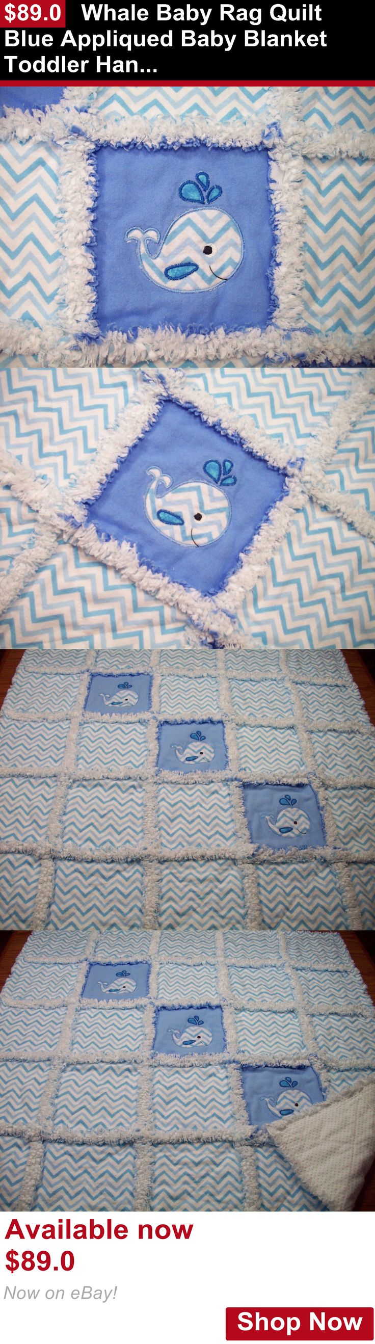 Quilts And Coverlets: Whale Baby Rag Quilt Blue Appliqued Baby Blanket Toddler Handmade Crib Bedding BUY IT NOW ONLY: $89.0