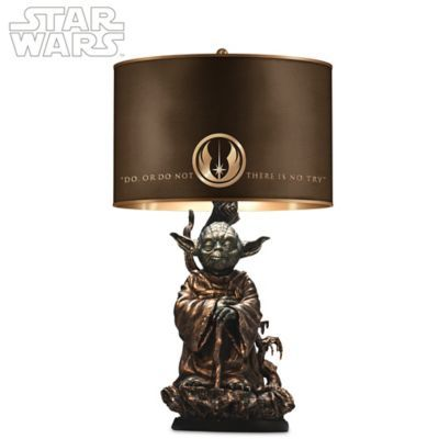 Sculptural cold-cast bronze Yoda™ base with hand-applied finishes. Cloth shade with golden interior, Alliance logo and Yoda's inspiring words.