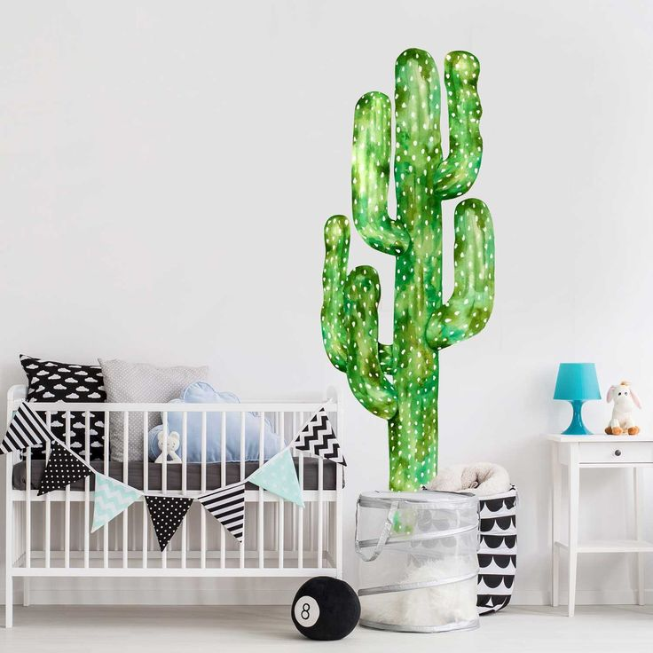 Saguaro Cactus Watercolor Wall Decal without Flowers Room by Chromantics