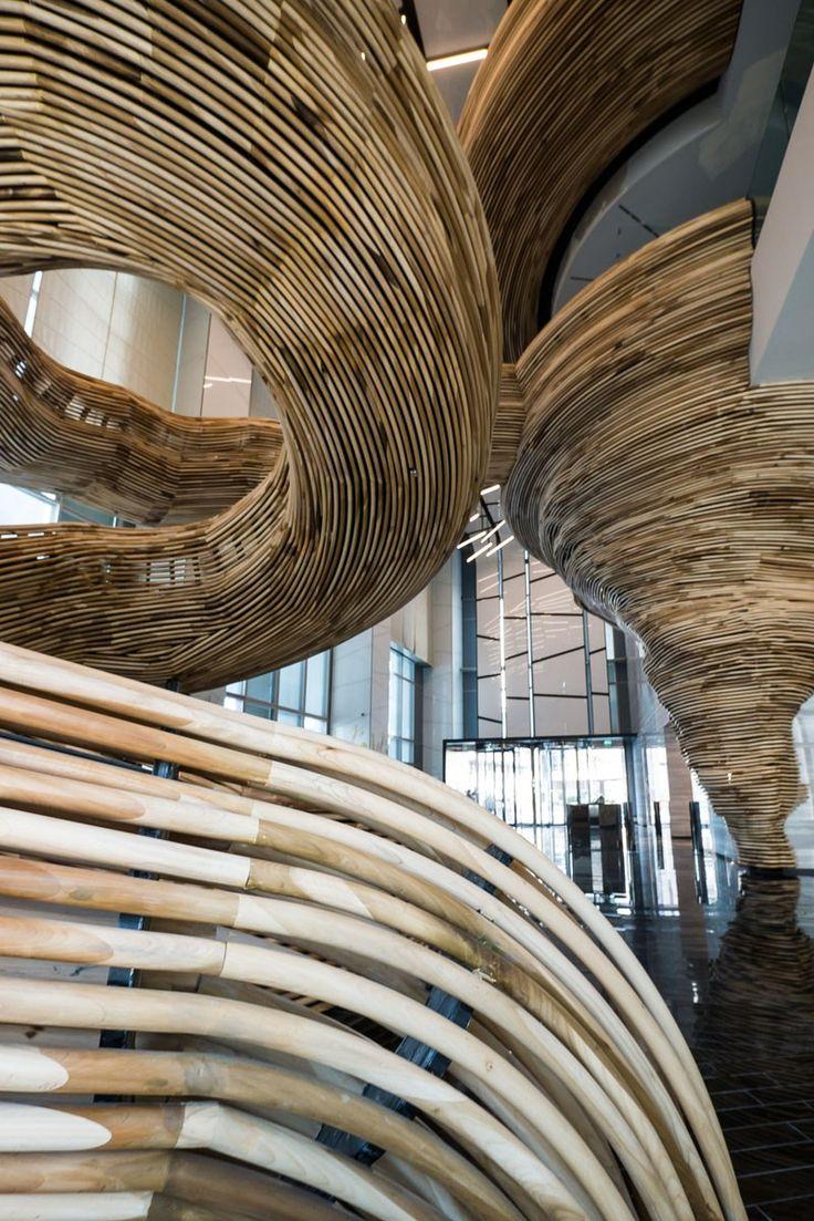 marvelous einfache dekoration und mobel tornadotreppe im amot atrium tower in tel aviv #1: Sculptural Spiral Staircase