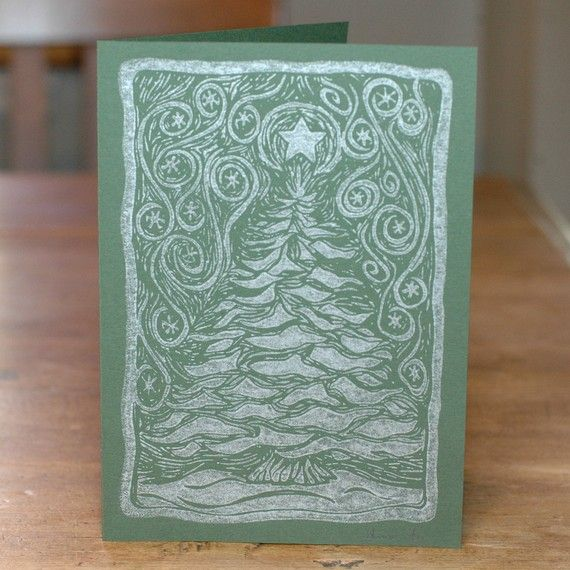 Linocut Holiday Cards Snowy Tree Forest Set by danabradleydesign, $20.00
