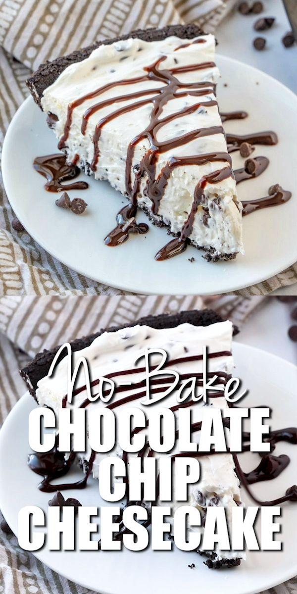 No-Bake Chocolate Chip Cheesecake