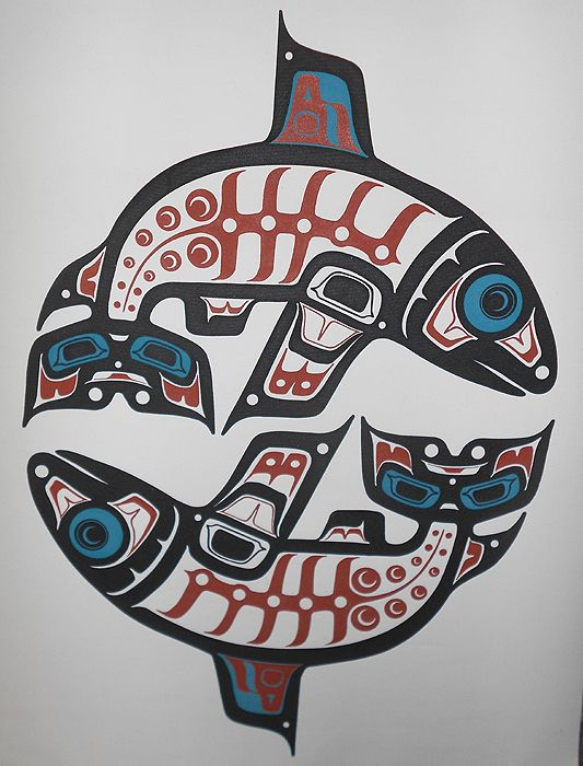Haida Northwest Coast Indian Native Salmon Art Print Banner on Canvas, HUGE! in prints