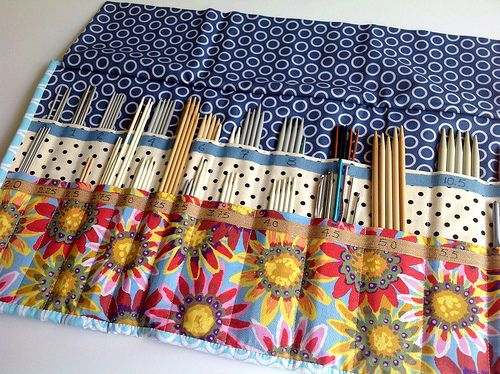 Handmade knitting needle case: inside