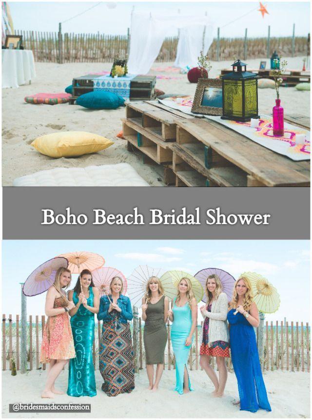 blank beach bridal shower invitations%0A Boho Beach Bridal Shower  Bridesmaids with boho chic dresses and parasols   Nicole Klym Photography