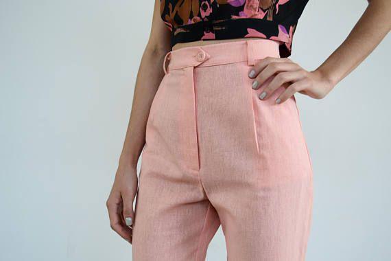 High Waisted Linen Pants /Pink Pants/ Vintage Pants / High