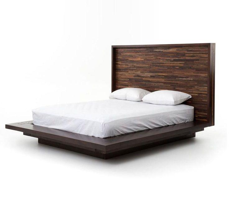 devon reclaimed wood queen platform bed frame - Diy Knigin Kopfteilplne