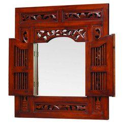 Extra Large Balinese Style Mirror with Doors - 120x130cm - Mahogany