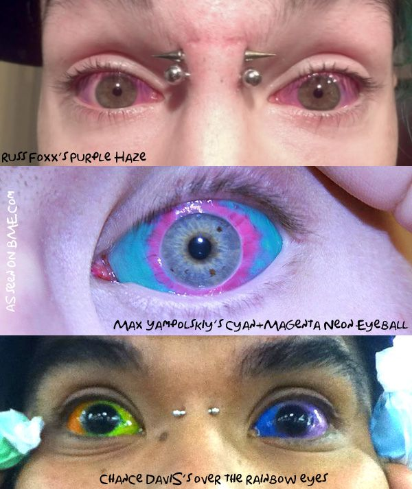 eye ball tattoo, permanently colouring the eye ball... permanently people