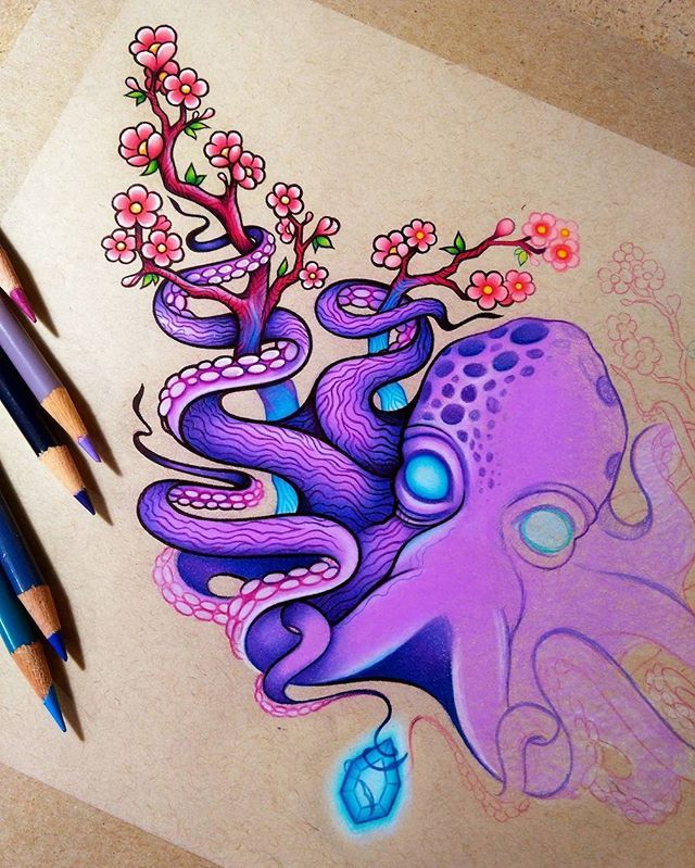 Octopus And Cherry Blossoms