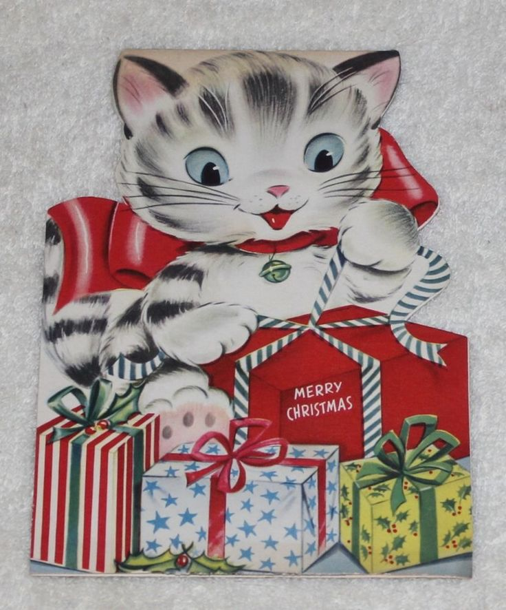 Vintage Merry Christmas Kitty Katt Fold Amp Stand Card USA