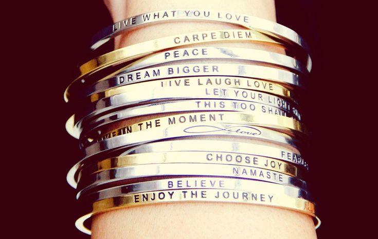 Mantrabands are simple, elegant, inspirational bracelets with a touch of delicate polish and an uplifting message; promoting a lifestyle of optimism, positivity, mindfulness. Wear your Mantraband every day as your daily reminder, affirmation, and inspiration.
