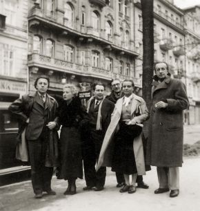 French and Czech surrealists in Prague - From left: André Breton, Jacqueline Breton, Karel Teige, Jindřich Štyrský, Toyen, Paul Eluard, 1935