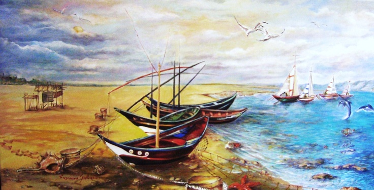 """""""Barche di pescatori sulla spiaggia di Les-Saintes-Maries-de-la-Mer""""cm120x60,olio su tela,pittura diretta,tutto in pigmenti naturali,rifinito con vernice damar."""
