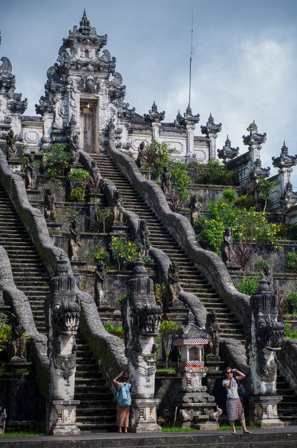 Pura Lempuyang, Bali, the holiest Hindu temple,  overlooks the sea and Mt. Agung volcano.  It is a two-hour climb up the 1700 steps to the top.