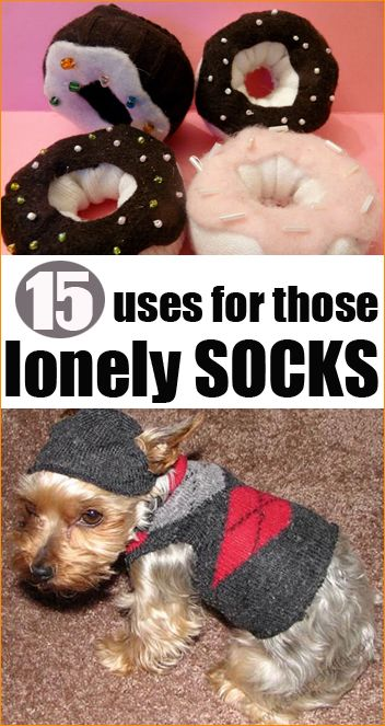 Put those socks to use that sit around in the closet waiting to find their match.  15 different creative ways to crafts, clean and decorate with socks.