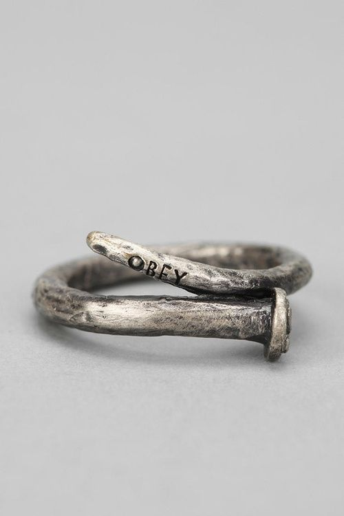 OBEY Craftsmen Ring, Bent Nail Design. I feel like you would like this @Cheryl Spencer