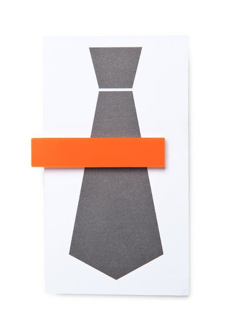 orange acrylic tie clip. modern way to add a pop of color.