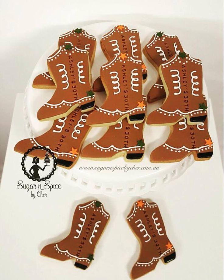 Cowboy boot cookies #sugarnspicebycher