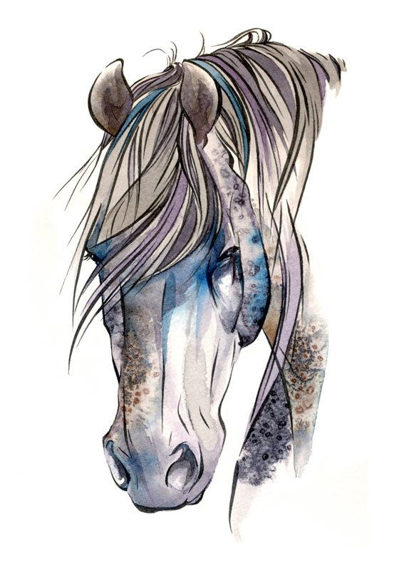 Horse Art Ryker Archival Giclee Watercolor & by DesignsbyDannie,