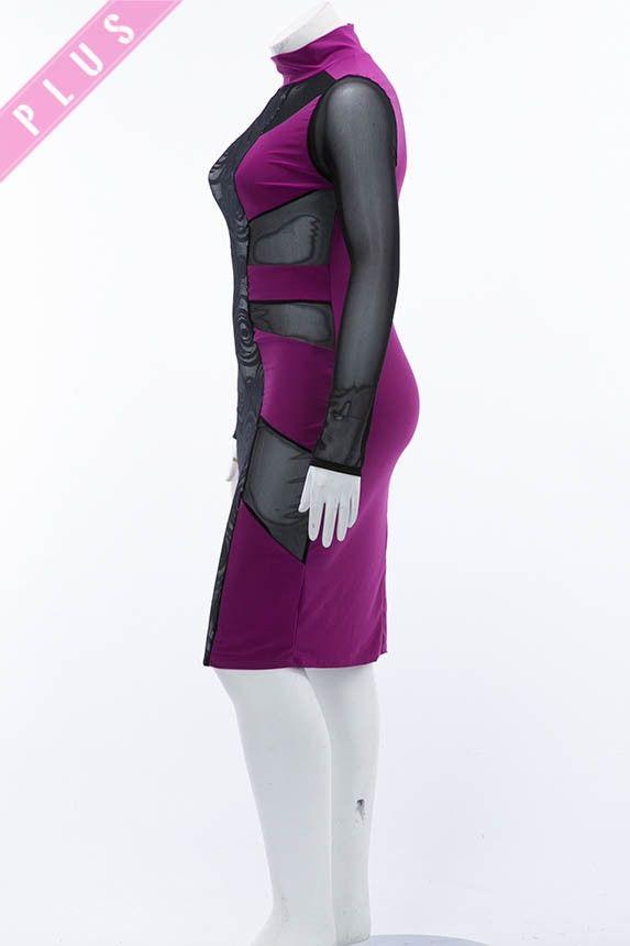 Plus Size Black& Magenta Peekaboo Body Con Dress