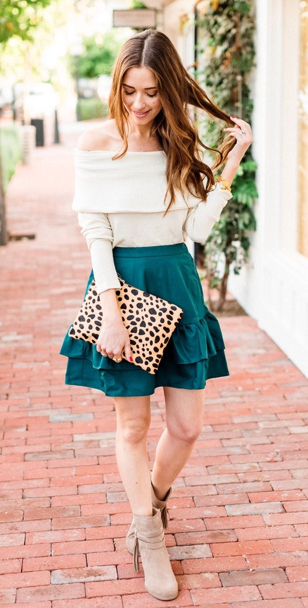 #winter #outfits  white off-shoulder long-sleeve top and teal skirt