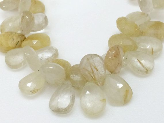 Rutilated Gold Quartz Gold Rutile Faceted Pear by gemsforjewels