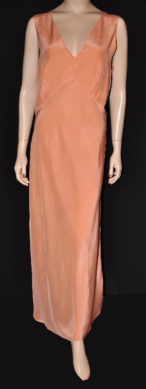 Queensley 'Crepe Gartiere' 1930s Barbizon Bias-Cut Silk Nightgown Sz- 40+ (#1325)