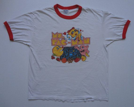 Ms. PacMan Ringer TShirt Vintage 1980s XL by thebrokenzipper