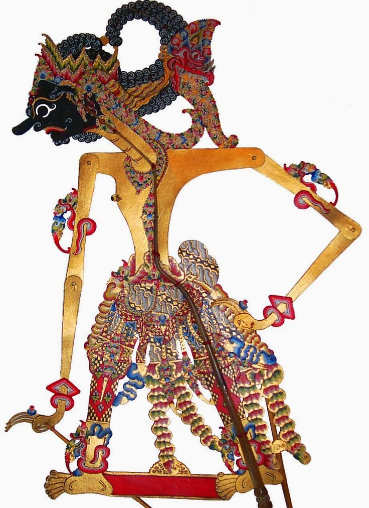 Javanese Stick Puppet - Antareja. Many characters act out scenes from the Hindu epic Mahabharata. Some tell indiginous stories.