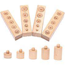 Pixnor Montessori in legno cilindro presa Family Pack di apprendimento precoce educazione giocattolo