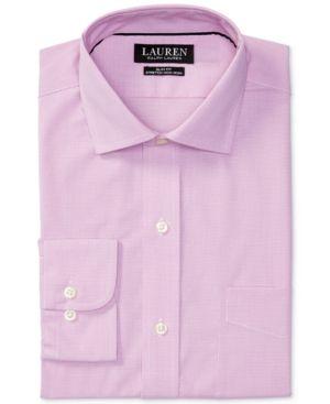 Lauren Ralph Lauren Men's Estate Slim-Fit Stretch Pink Dress Shirt - Pink/white 17 34/35