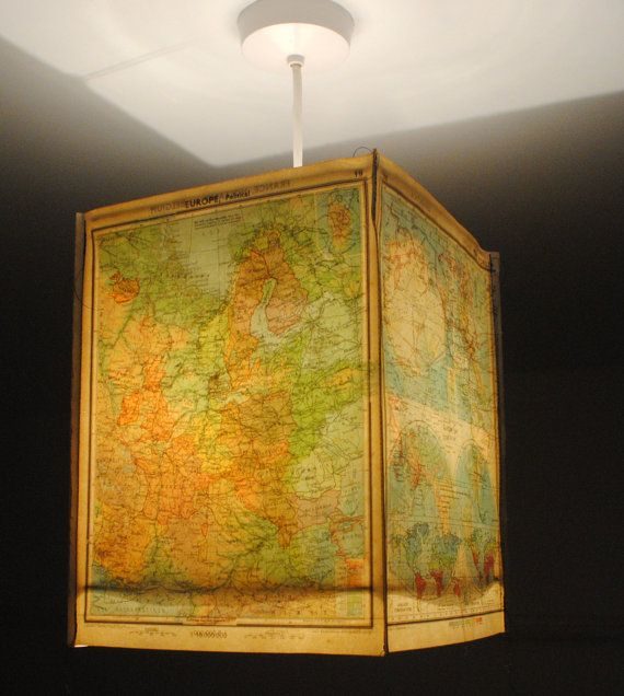 Craft inspiration! World Map lamp shade square paper lampshade by NaturallyHeartfelt on ETSY.