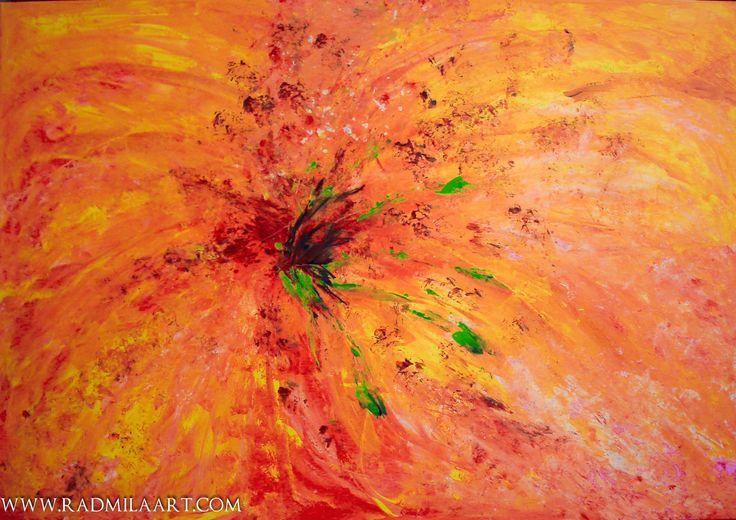 Orange abstract floral acrylic painting, 70*100 cm, ''Summer flower''. Artist - Radmila Filimonova, Radmila Art Studio