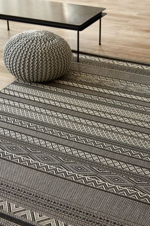 Charcoal Linear Love (2 X 3): Water-resistant, durable poly-propylene woven flatweave (2 X 3 m). Add texture t...