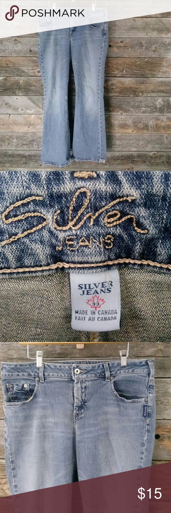 Silver jeans size 33 (size 15/17) flare leg jeans Silver jeans size 33 (size 15/17) flare leg jeans. Has fray on bottom of legs. Has a small patch on inside top of leg as show in picture still a great pair of jeans. Silver Jeans Jeans Flare & Wide Leg