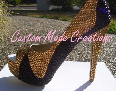 Shown in a 5 inch heel peep toe shoe with black pearls & crystals 17.