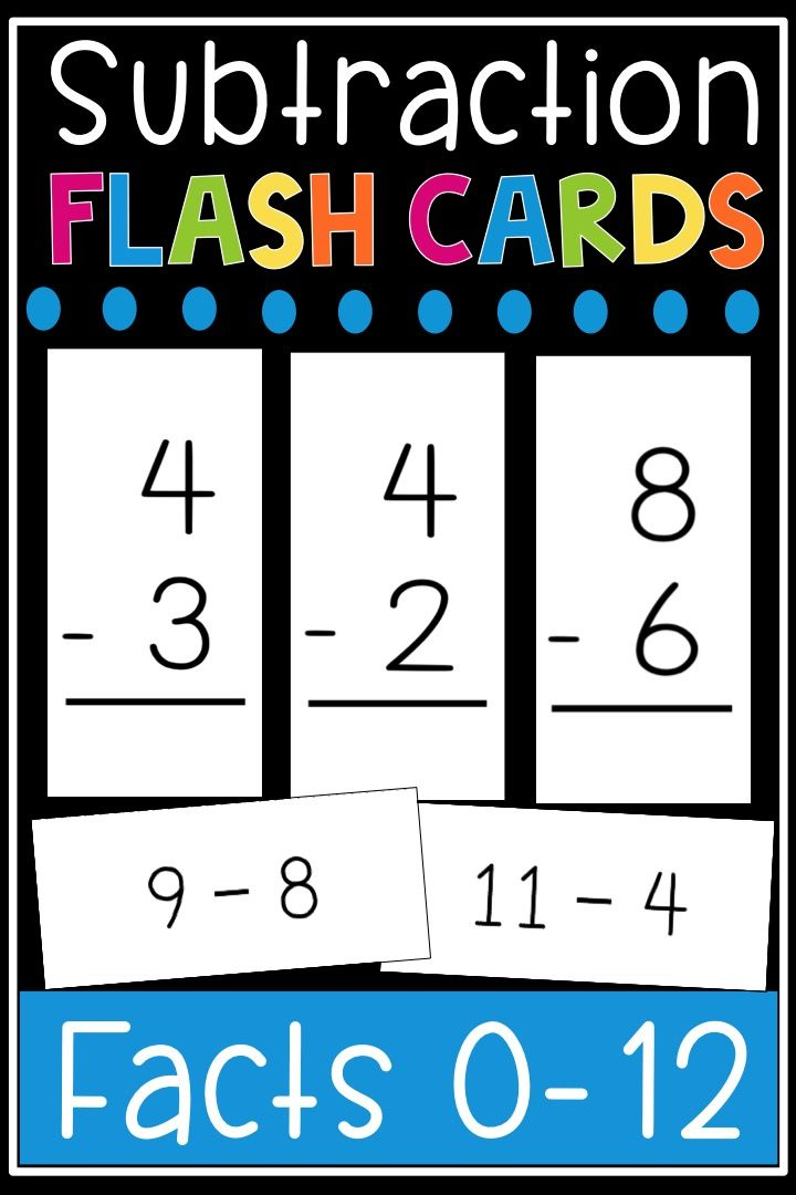 photo relating to Subtraction Flash Cards Printable identified as Subtraction Flash Playing cards - Math Details 0-12 Flashcards
