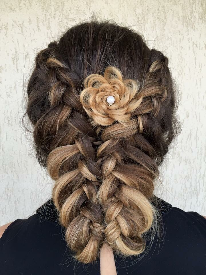 Braids with rose hairstyle