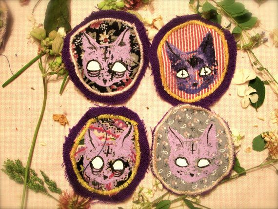 Satanic Cat Badge/Patch  Mostly available in NEW COLOURS *photos will be updated tonight*!! Original art by MonicaCreep  Hand silkscreened on to recycled fabric, hand painted details, machine sewn to felt back