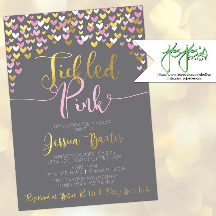 wedding shower invitations omaha%0A Tickled Pink Baby Shower Invitation  Metallic Gold Faux Foil  Hearts  Confetti  Baby Girl
