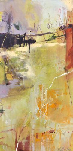 "FREEDOM BRIDGE-Abstract by Joan Fullerton Acrylic ~ 24"" x 12"""