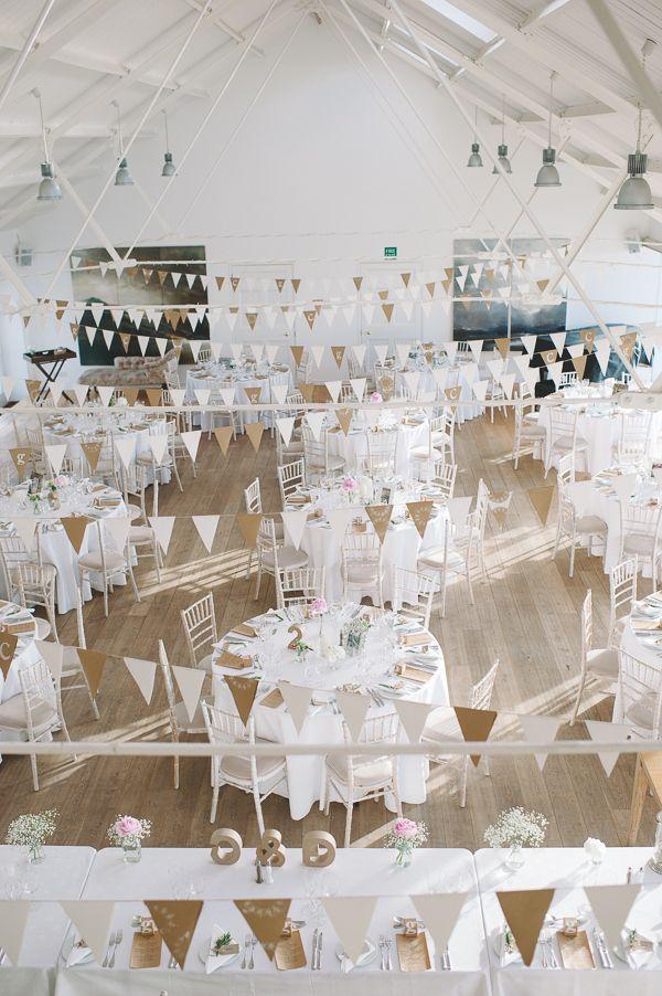 Chic & Stylish White & Craft Paper Wedding Bunting www.crearweddings.co.uk