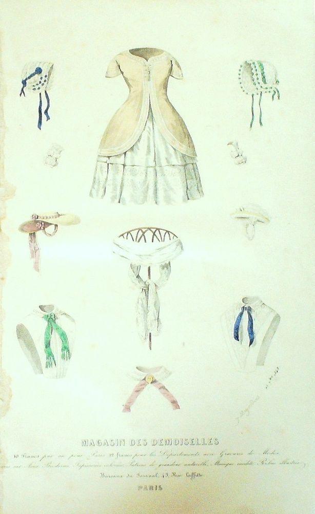 September 1848  +++++++++  GRAVURE de MODE AUTHENTIQUE-F181-MAGASIN DEMOISELLES-LINGERIE-1849
