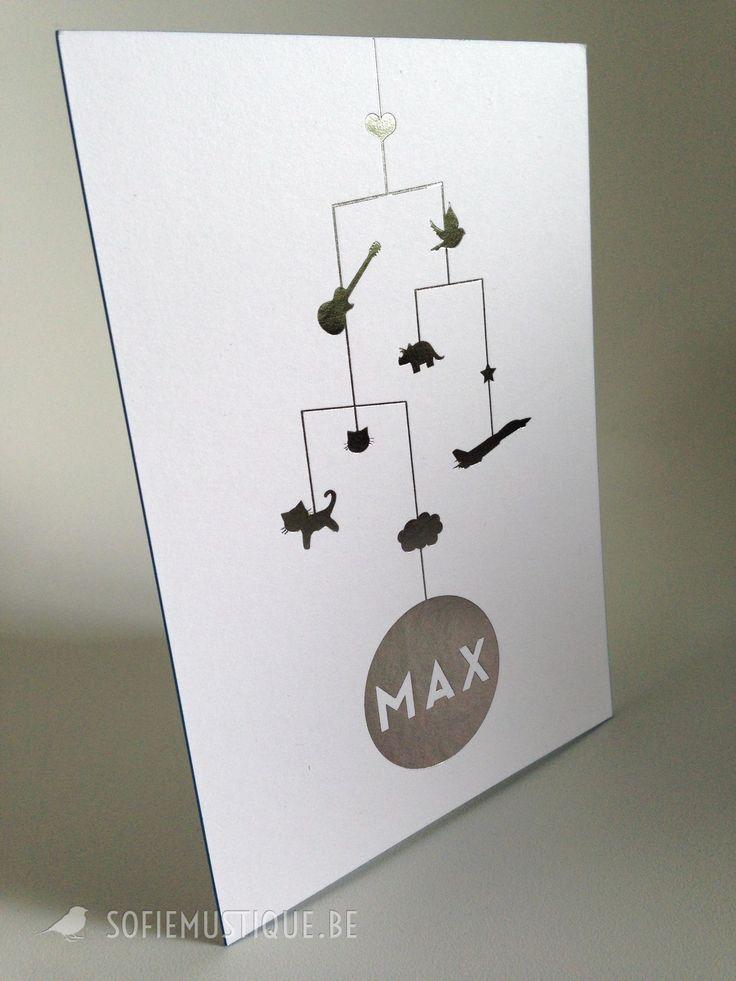 Geboortekaartje voor onze eigen kleine MAX - sofiemustique.be   zilver folie   silver metal hot foil