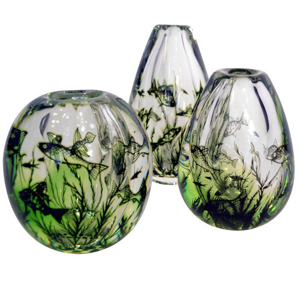 Fish graal glas Vases by Edward Hald for Orrefors