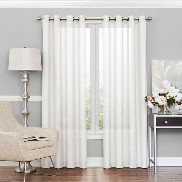 White Window Treatments Part - 22: Eclipse Liberty UV Light-Filtering Sheer Curtain ($50) ? Liked On Polyvore  Featuring Home, Home Decor, Window Treatments, Curtains, White, ...